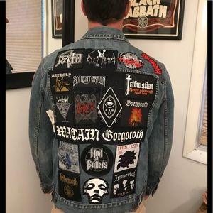 Denim black metal band jacket sz M